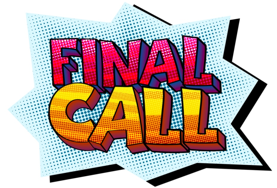 Starburst graphic that says Final Call