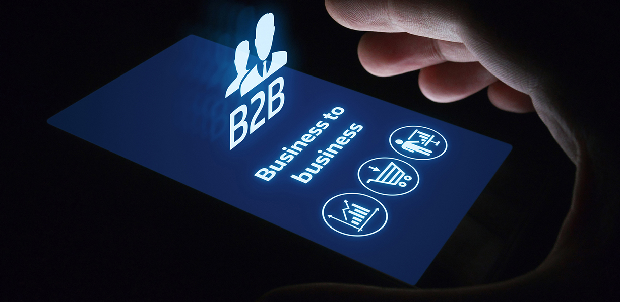 B2B Business-to-Business image on mobile device with e-commerce, marketing, technology icons.