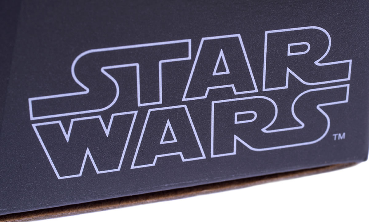 Star Wars logo text in blue-grey on black background