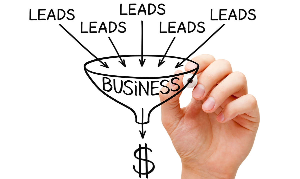 Hand sketching Lead Generation business sales funnel concept with marker on transparent wipe board