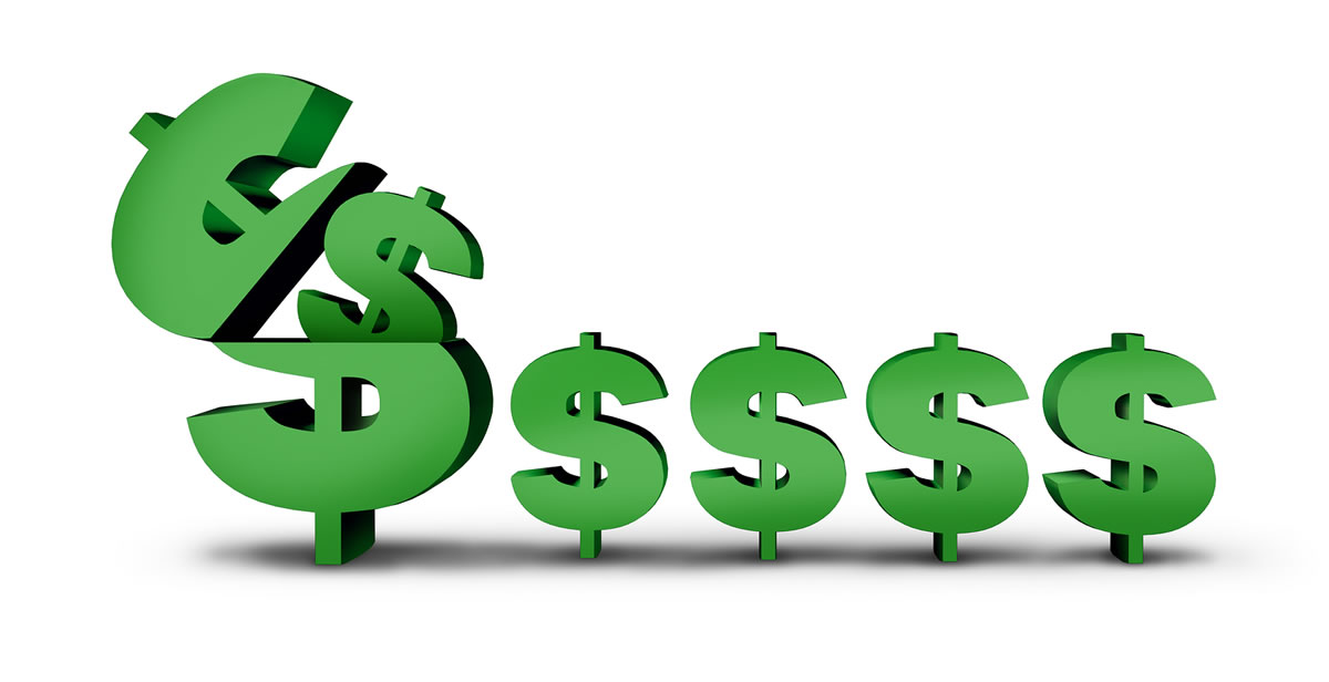 Earning repeat money like royalty income; large open dollar sign with multiple little dollar signs appearing out of it