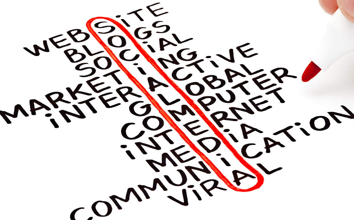 Social Media words highlighted with red marker at the heart of a handwritten chart including website, internet, marketing