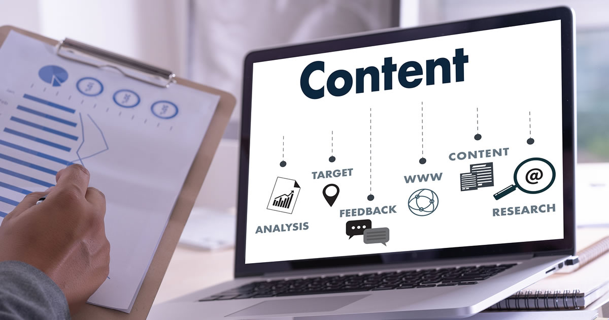 CONTENT marketing strategy on laptop computer screen, including Data Blogging Media Vision Content Concept