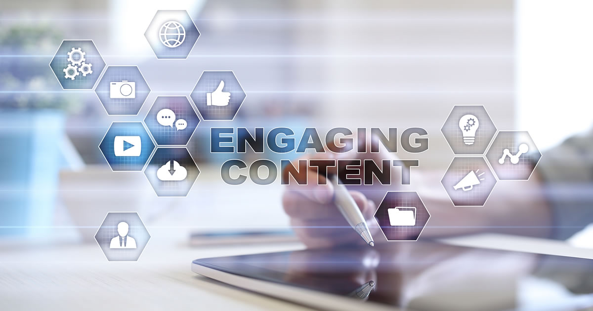 Engaging content on virtual screen surrounded by digital marketing icons