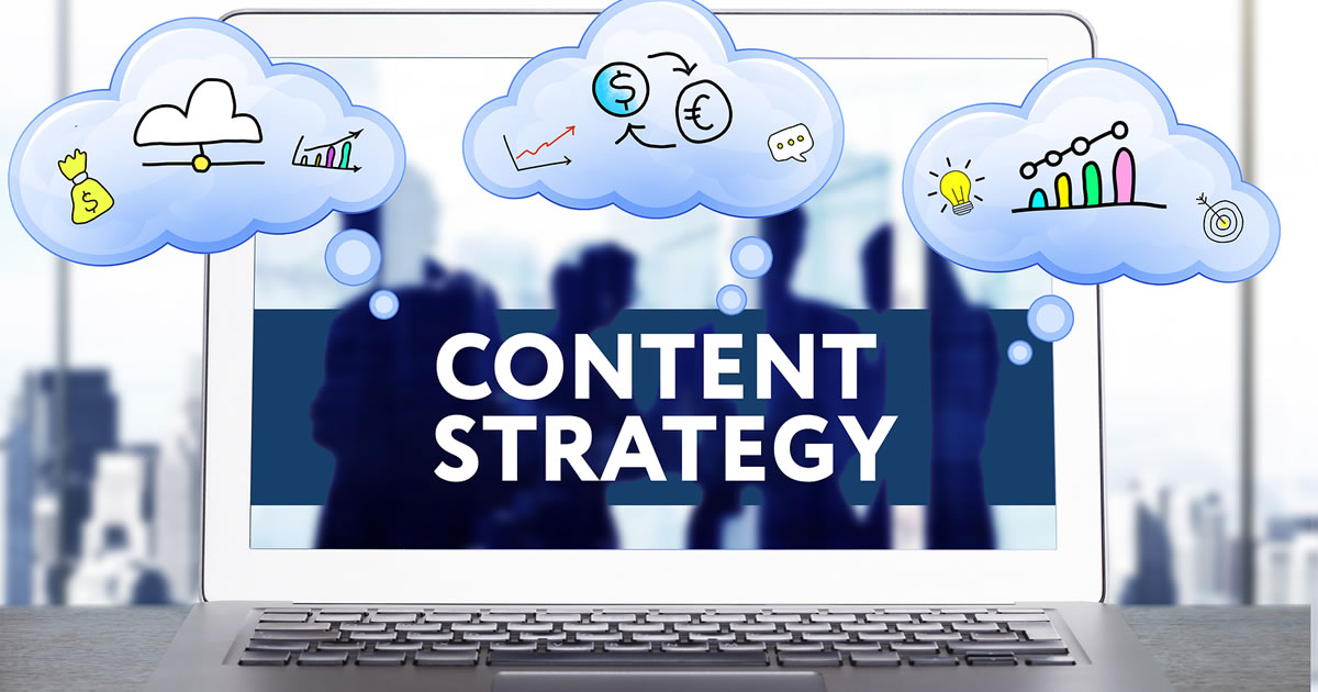 Content Marketing Strategy with icons on computer