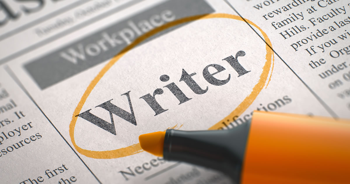 Writer wanted – vacancy ad in newspaper, circled with orange highlighter
