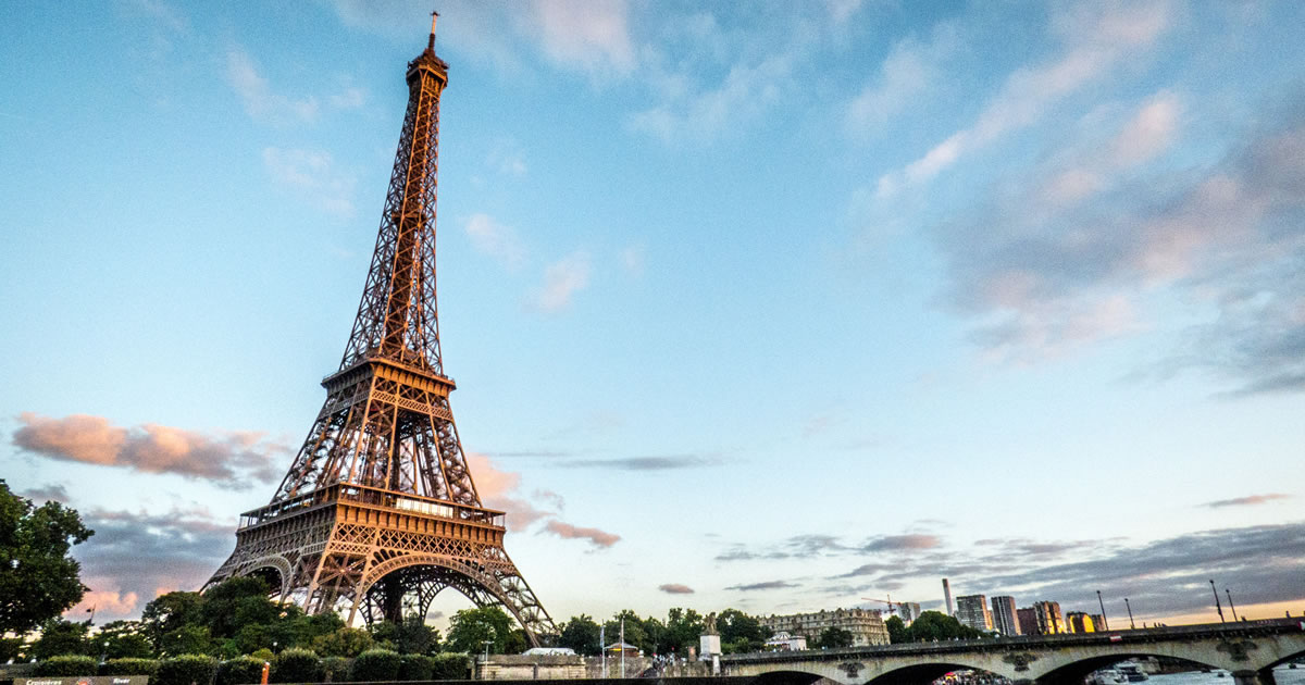 Eiffel Tower with blue sky background in Paris France