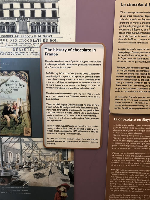Sign in the Paris chocolate museum describing the history of chocolate in France