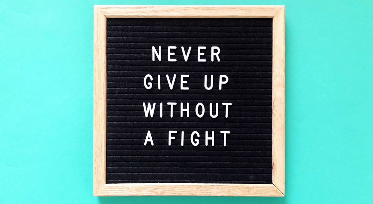 Sign with the words never give up without a fight