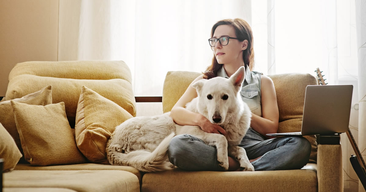 Woman looking off into distance while sitting on couch in front of open laptop computer with her arm around large dog that is leaning on her lap