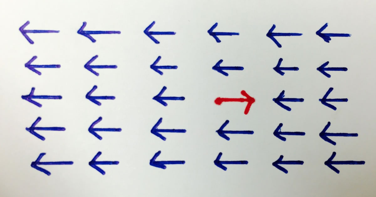 A field of blue arrows pointing one direction, with one red arrow pointing the other, all on white background
