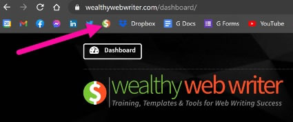 Screen shot of web browser bookmarks bar with an arrow pointing to the Wealthy Web Writer favicon