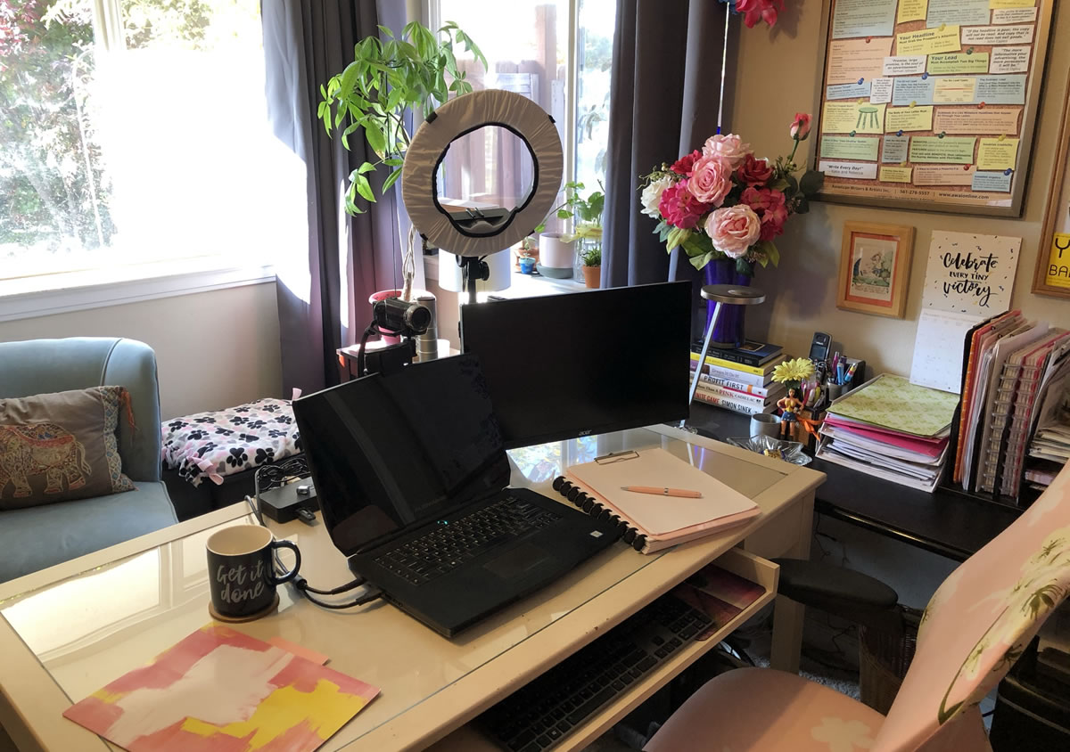 Michele Peterson's office workspace for writing