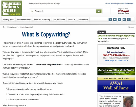 "Example of ""Copywriter/Copywriting"""