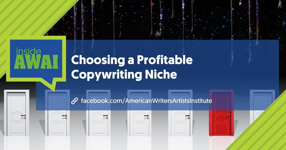 The words Choosing a Profitable Copywriting Niche over a graphic of a row of white doors with one door in red