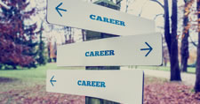 Sign with the word career pointing in different directions