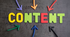 Arrows pointing inward toward colorful foam letters that spell out the word CONTENT