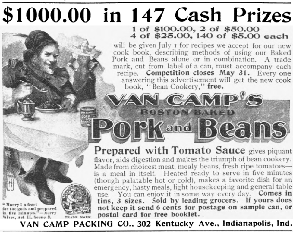 Copy of Van Camp's pork and beans ad from 1897