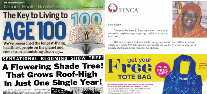 Four snippets from direct-mail packages as examples of copywriting