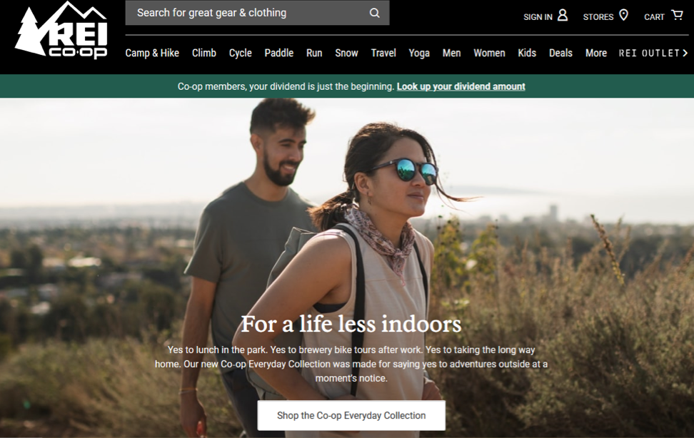 Screenshot of ad showing hikers in a park near a city