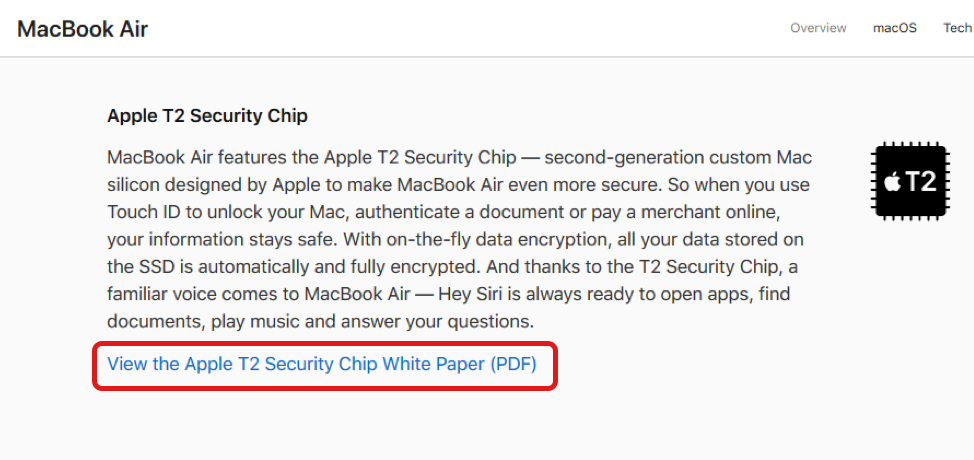 Screenshot of a a laptop security chip descriptin with link to the white paper highlighted
