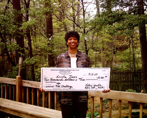 Krista Jones with her $10K Check
