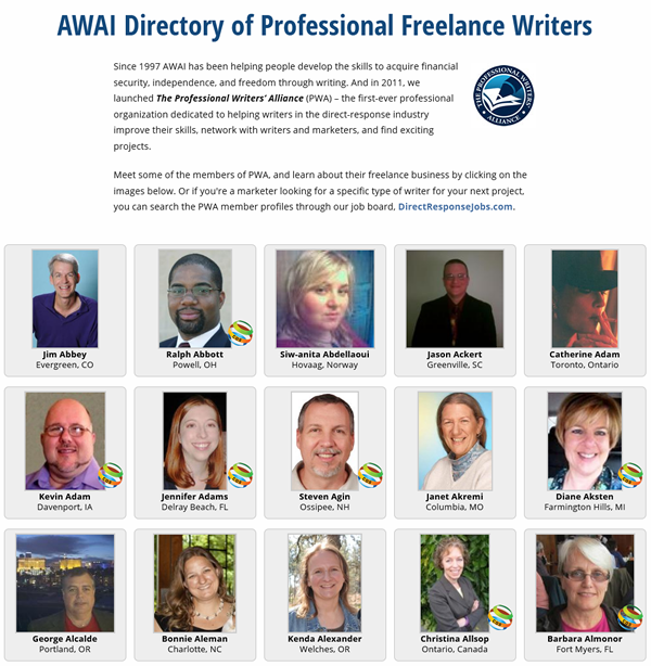 AWAI Directory of Professional Freelance Writers
