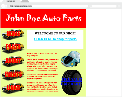 Example of Bad Webpage