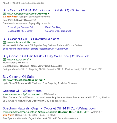 Google Search Engine results for Coconut Oil