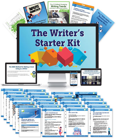 Spread of everything that comes with The Writer's Starter Kit